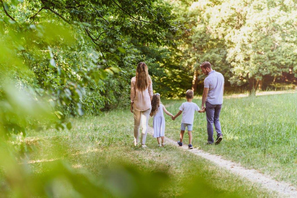 Family enjoying beutiful summer day in nature